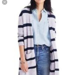 Madewell Kent cardigan sweater striped slouchy